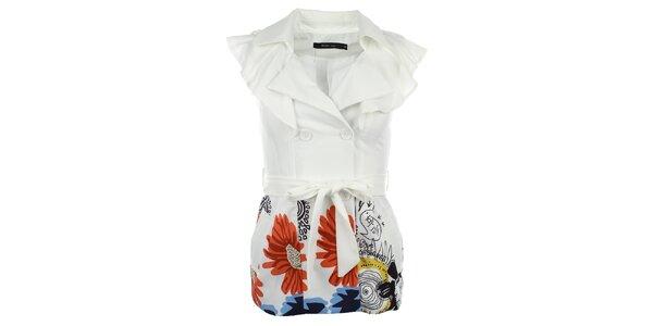 Dámská bílá vesta s volánky Dislay DY Design
