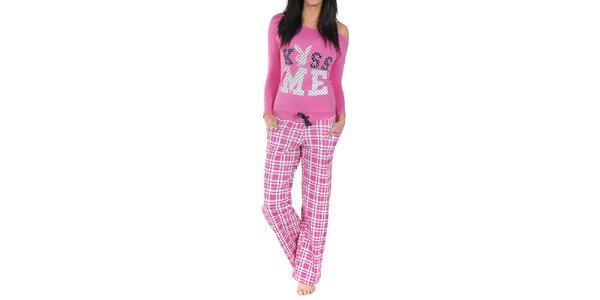 Dámské pyžamo Playboy - růžové triko a kostkované kalhoty