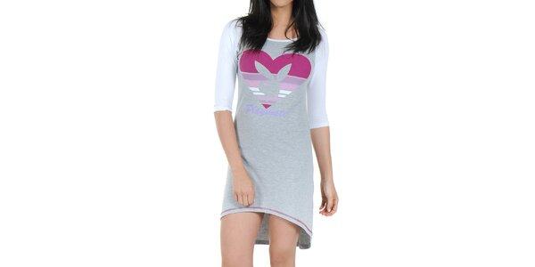Dámská šedá noční košile s bílými rukávy Playboy