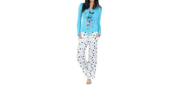 Dámské pyžamo Playboy - modré triko a bílé kalhoty s puntíky