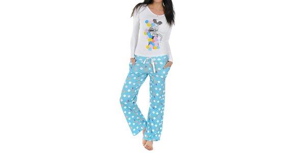 Dámské pyžamo Playboy - bílé triko a modré kalhoty s puntíky