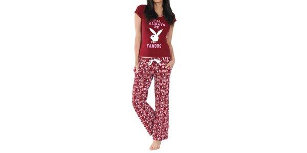 Dámské pyžamo Playboy - bordó triko a kalhoty