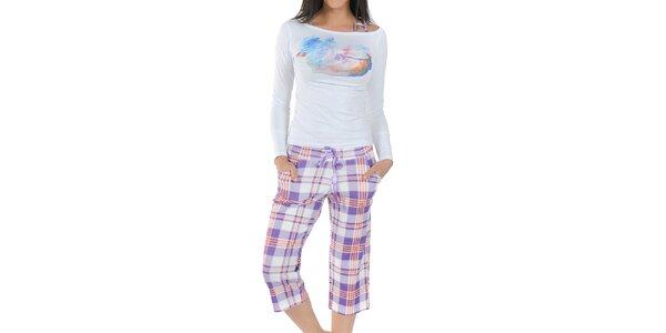 Dámské fialovo-bílé pyžamo Playboy