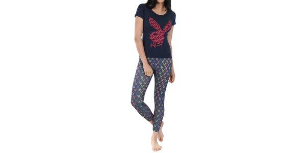 Dámské pyžamo Playboy - tmavomodré triko a vzorované kalhoty