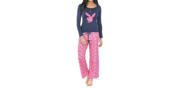 Dámské modro-růžové pyžamo Playboy