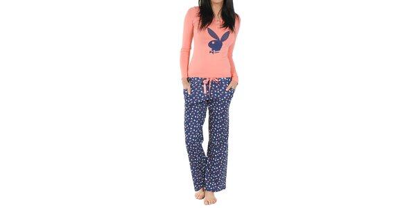 Dámské modro-broskvové pyžamo Playboy