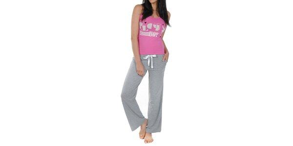 Dámské růžovo-šedé pyžamko s tílkem Playboy
