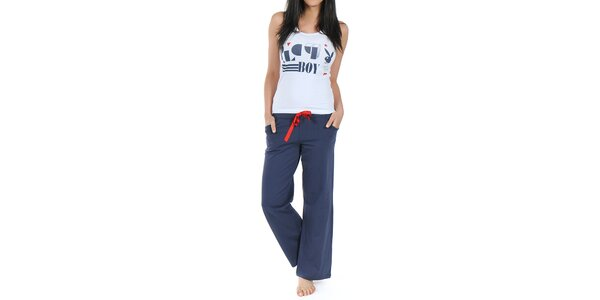 Dámské modro-bílé pyžamko s tílkem Playboy