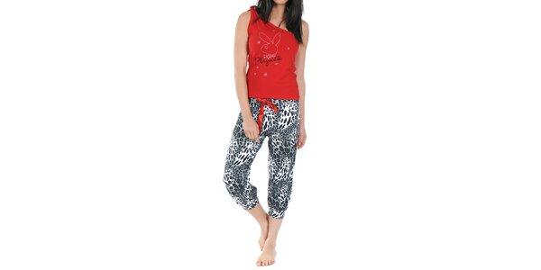 Dámské pyžamo Playboy - červený top a vzorované kalhoty