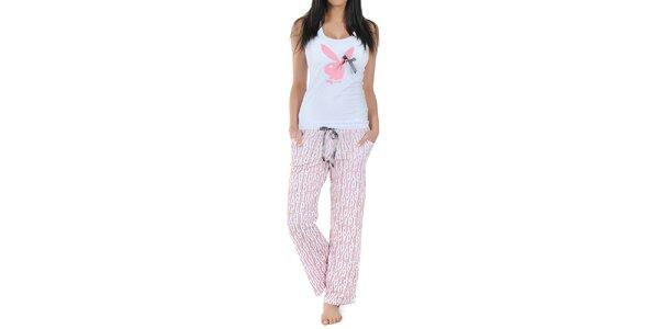 Dámské pyžamo Playboy - tílko s mašličkou a dlouhé růžové kalhoty s potiskem