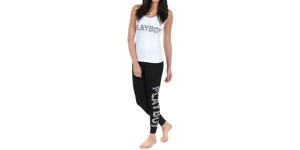 Dámské pyžamo Playboy - bílé tílko a černé legíny s leopardím potiskem