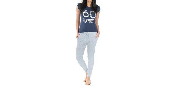 Dámské pyžamo Playboy - tmavě modré tričko s potiskem a dlouhé šedé kalhoty