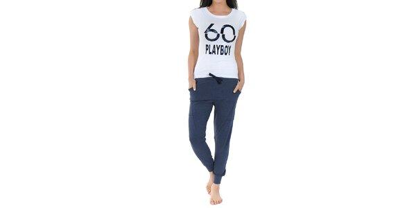 Dámské pyžamo Playboy - bílé tričko s potiskem a dlouhé modré kalhoty