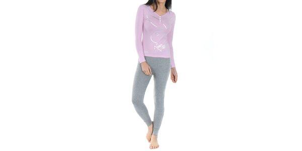 Dámské pyžamo Playboy - světle růžové tričko s dlouhým rukávem a šedé legíny