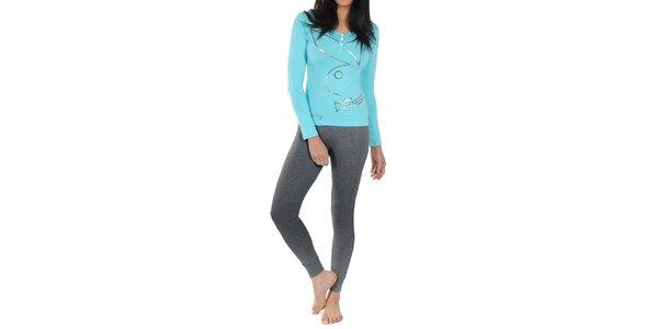 Dámské pyžamo Playboy - světle modré tričko s dlouhým rukávem a tmavě šedé…