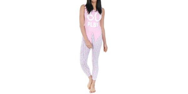 Dámské pyžamo Playboy - světle růžové tílko a legíny s potiskem