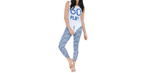 Dámské pyžamo Playboy - tílko a modré legíny s potiskem