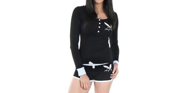 Dámské pyžamo Playboy - černé tričko s dlouhým rukávem a kraťásky