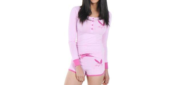 Dámské pyžamo Playboy - růžové tričko s dlouhým rukávem a kraťásky