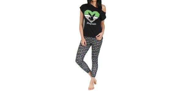 Dámské pyžamo Playboy - černé tričko a legíny s potiskem