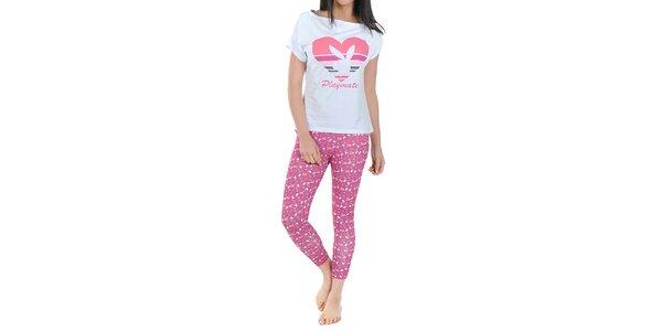 Dámské pyžamo Playboy - bílé tričko a růžové legíny s potiskem