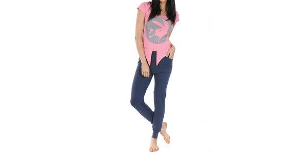 Dámské pyžamo Playboy - růžové tričko a dlouhé modré kalhoty