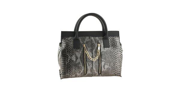 Dámská stříbrno-černá kabelka s motivem hadí kůže Classe regina