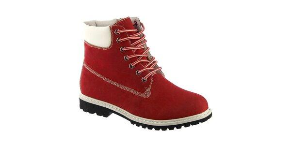 Dámské červené kotníkové boty s kožíškem Keddo