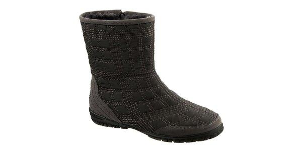 Dámské šedé prošívané boty se semišovými prvky Keddo