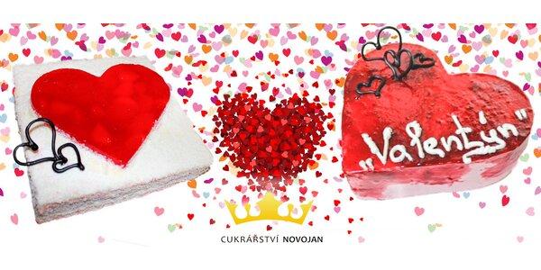 Valentýnské dorty ve tvaru srdce (1,5 kg)