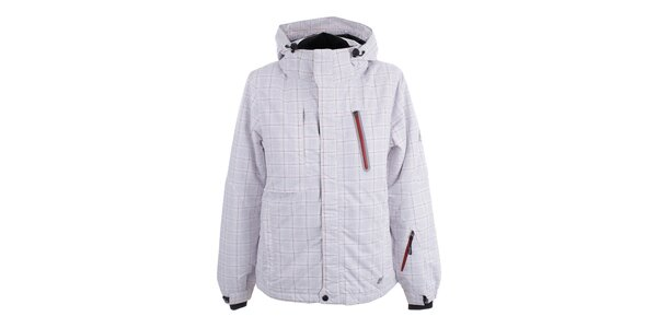 Dámská bílá lyžařská bunda s kostkovaným vzorem Joluvi