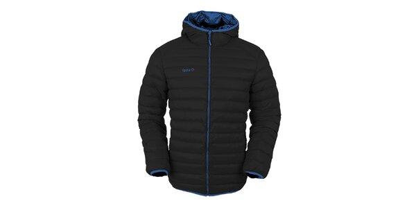 Pánská černá péřová bunda s kapucí Izas