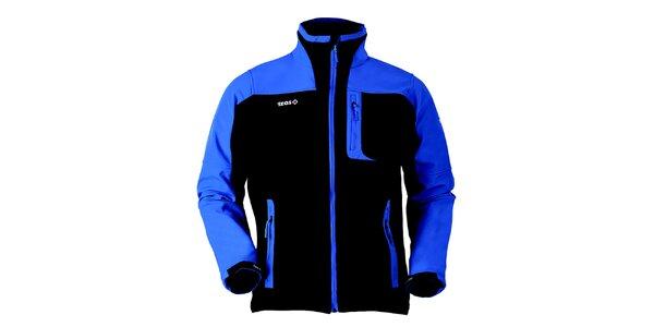 Pánská černo-modrá softshellová bunda Izas