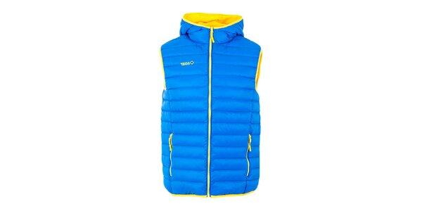 Pánská modrá péřová vesta s kapucí Izas