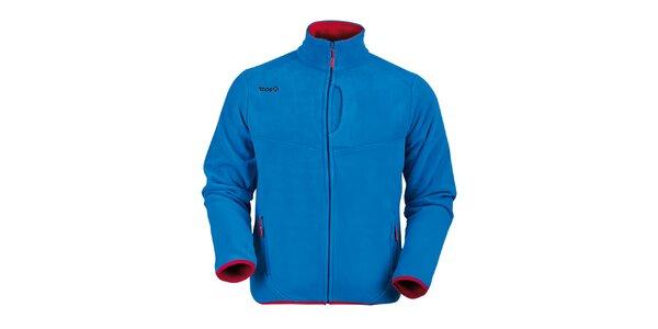 Pánská tmavě modrá fleecová mikina s červenými lemy Izas