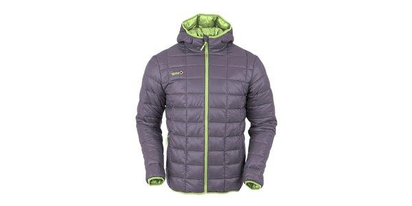 Pánská tmavě šedá prošívaná bunda s limetkově zeleným zipem Izas