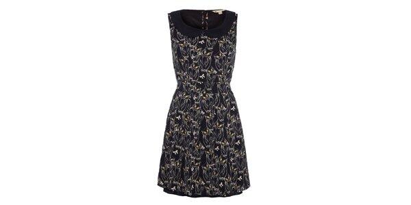 Dámské černé šaty s potiskem soviček Yumi