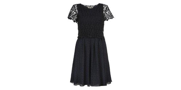 Dámské modré šaty s černým krajkovým topem Yumi
