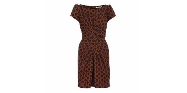 Dámské hnědé nabírané šaty se vzorem Yumi