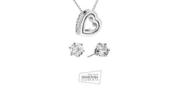 Dámská sada šperků Swarovski Elements - náušnice s kamínky a srdcový náhrdelník