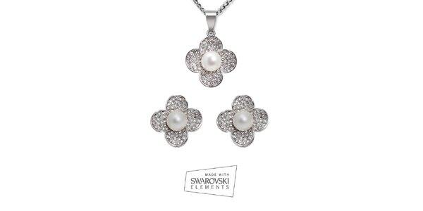 Set náhrdelníku a náušnic s perličkami Swarovski Elements