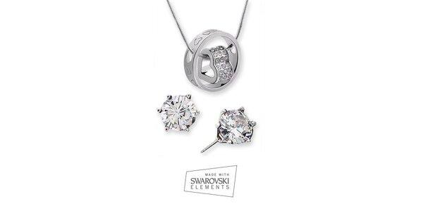 Set náhrdelníku se třpytivými náušnicemi Swarovski Elements