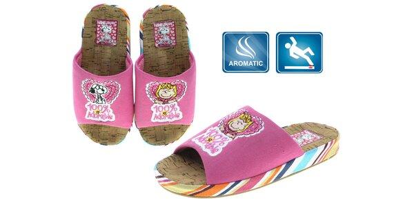 Dámské růžové pantofle Beppi s obrázky