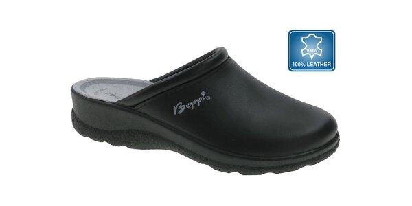 Dámské černé kožené pantofle Beppi