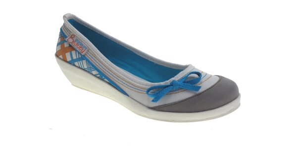 Dámské šedo-bílé baleríny Beppi s modrými detaily