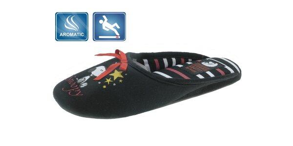 Dámské černé domácí pantofle Beppi s vůní a potiskem