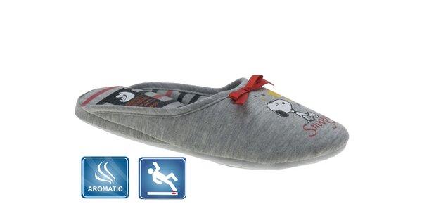 Dámské šedé domácí pantofle Beppi s vůní a potiskem
