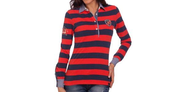 Dámské modro-červené polo tričko s dlouhým rukávem Galvanni