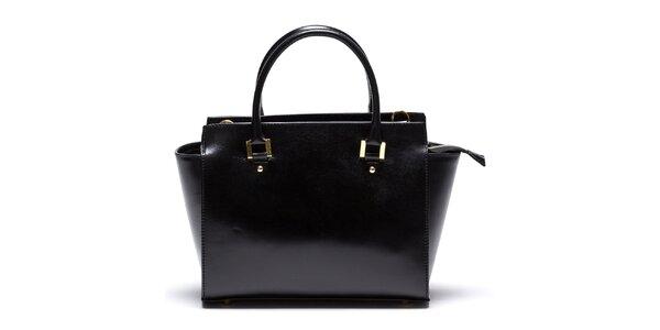 Dámská kožená černá kabelka se zipovou kapsičkou Mangotti