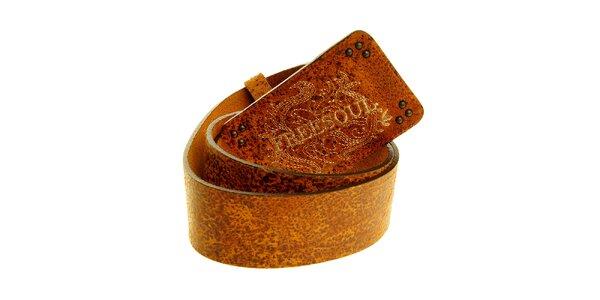 Pánský hnědý kožený pásek Freesoul